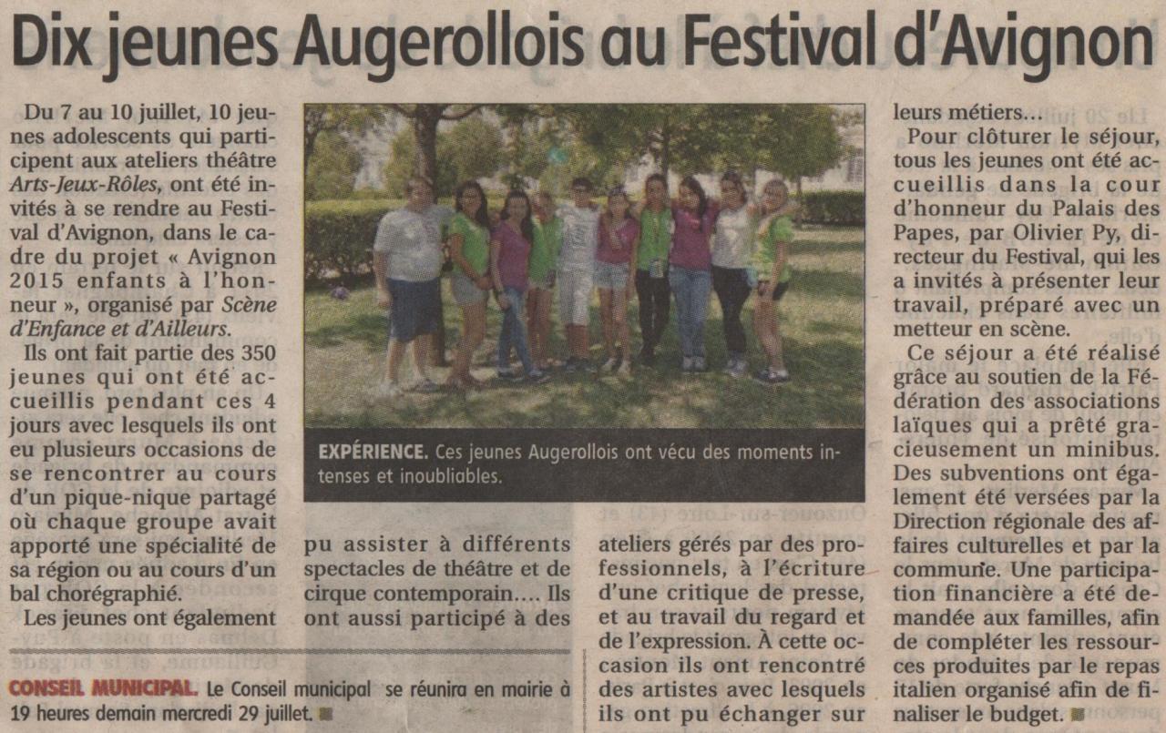 10 jeunes d'Arts-Jeux-Rôles au festival d'Avignon
